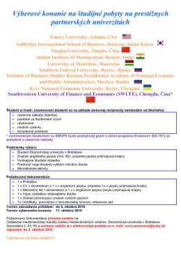 Výberové konanie na študijné pobyty na prestížnych partnerských