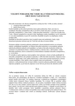 Návrh volebného poriadku pre voľbu hlavného kontrolóra230.5 KB
