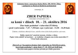 Zber papiera 102016