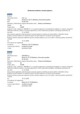 Oznámenia emitentov cennęch papierov Emitent O000584