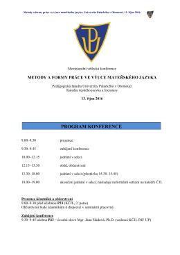 program konference - Konference Metody a formy práce ve výuce