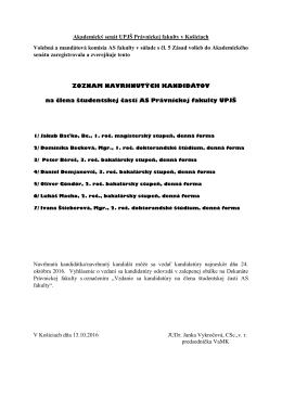 Zoznam navrhnutých kandidátov