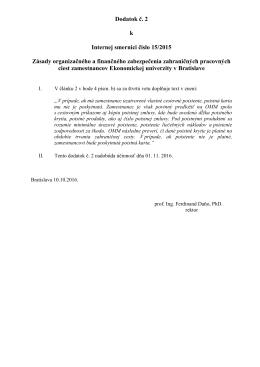 Dodatok č. 2 k Internej smernici číslo 15/2015 Zásady