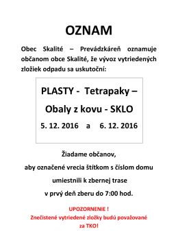 PLASTY - Tetrapaky – Obaly z kovu - SKLO