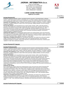 Adobe cjenik - Jadran Informatika doo