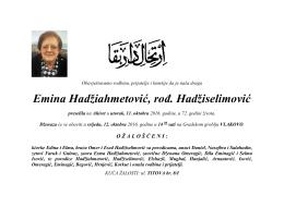 Emina Hadžiahmetović, rođ. Hadžiselimović