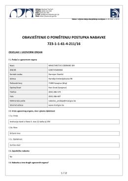 obavještenje o poništenju postupka nabavke 723-1-1-61-4