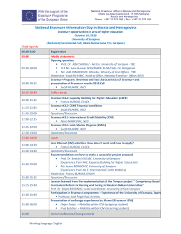 Agenda for the National Erasmus+ Information Day in BiH