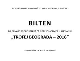 Bilten Trofej Beograda -2016