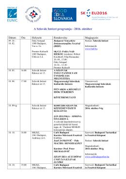 A Szlovák Intézet programja - 2016. október