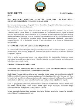 2016 Ağustos Basın Bülteni - Zonguldak Ticaret ve Sanayi Odası