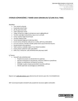 etkinlik süpervizörü / teknik saha sorumlusu iş ilanı