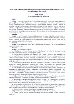 yükseköğretim kurumları öğrenci konseyleri ve yükseköğretim