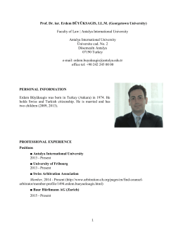 Prof. Dr. iur. Erdem BÜYÜKSAGIS, LL.M. (Georgetown University