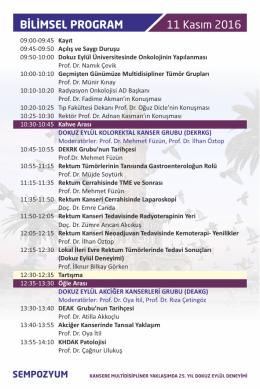 11 Kasım 2016 BİLİMSEL PROGRAM - Türk Radyasyon Onkolojisi