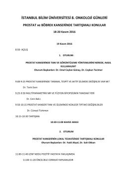 İSTANBUL BİLİM ÜNİVERSİTESİ 8. ONKOLOJİ GÜNLERİ PROSTAT