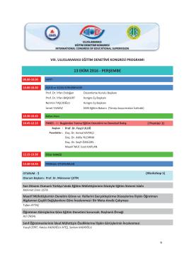 Kongre Programı - uluslararası eğitim denetimi kongresi