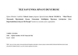 tez savunma sınavı duyurusu - Erciyes Üniversitesi Eğitim Bilimleri
