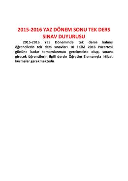 2015-2016 yaz dönem sonu tek ders sınav duyurusu