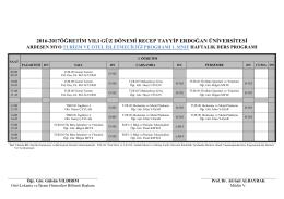 Turizm ve Otel İşletmeciliği Bölümü Ders Programı
