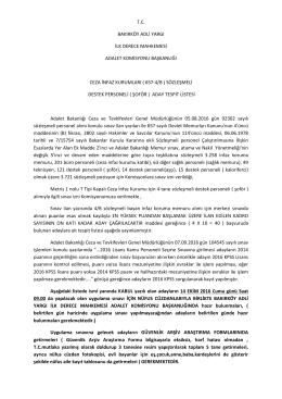 ( Şoför ) Aday Tespit Listesi - Bakırköy Adalet Sarayı