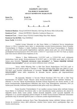 Bakırköy Adalet Komisyon Başkanlığı Lojman Hakkında Karar Metni