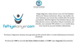 Muğla bölgesinin online hizmet veren tek Özel İstihdam Bürosu ile