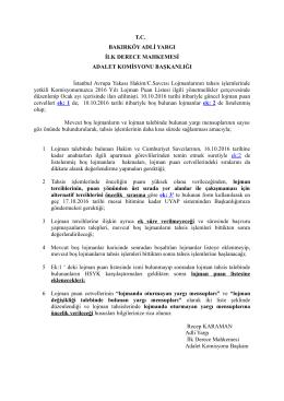 Bakırköy Adalet Komisyon Başkanlığı Lojman Tahsislerine İlişkin