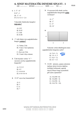 6. sınıf matematik deneme sınavı