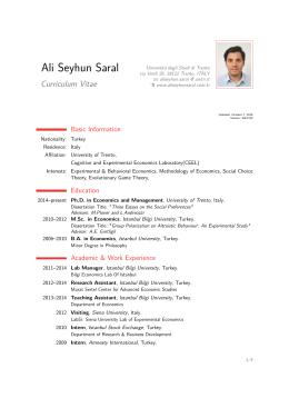 Ali Seyhun Saral – Curriculum Vitae