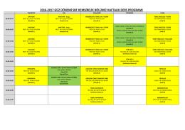 2016-2017 Öğretim Yılı Güz Sömestresi Hemşirelik Ders Programı