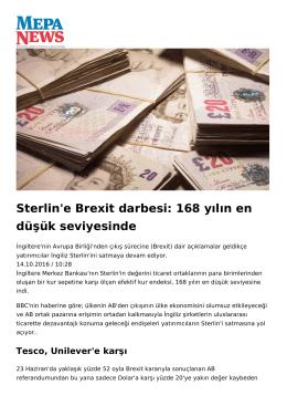 Sterlin`e Brexit darbesi: 168 yılın en düşük seviyesinde
