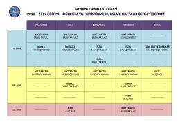 ayrancı anadolu lisesi 2016 – 2017 eğitim