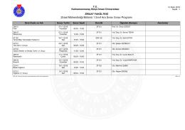 Ziraat Mühendisliği Bölümü 1., 2. ve 3. sınıflar