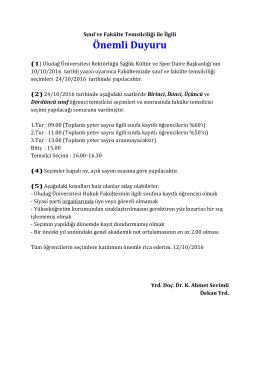 Önemli Duyuru - Uludağ Üniversitesi Hukuk Fakültesi