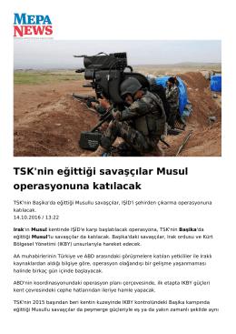 TSK`nin eğittiği Musul`lu savaşçılar Musul