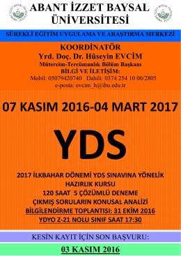 07 kasım 2016-04 mart 2017 - Abant İzzet Baysal Üniversitesi