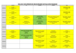 2016-2017 güz dönemi sbf ebelik bölümü haftalık ders programı
