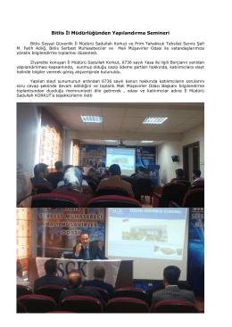 Bitlis İl Müdürlüğünden Yapılandırma Semineri