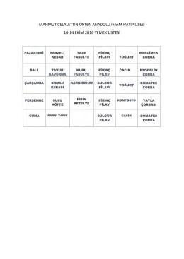 10-14 ekim 2016 yemek listesi - ORTAHİSAR