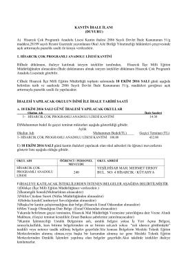 kantin ihale ilanı(duyuru) - Hisarcık İlçe Milli Eğitim Müdürlüğü