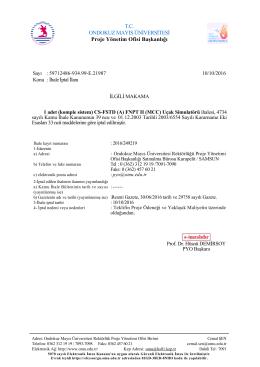T.C. ONDOKUZ MAYIS ÜNİVERSİTESİ Proje Yönetim Ofisi Başkanlığı