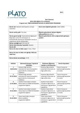 EK‐5 Ders İzlencesi 2015‐2016 Eğitim Yılı ve Dönemi Program adı