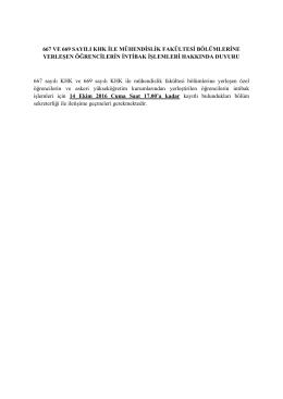 667 ve 669 sayılı khk ile mühendislik fakültesi bölümlerine yerleşen