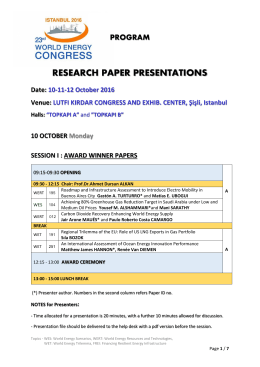 Research Papers - 23rd World Energy Congress Istanbul 2016