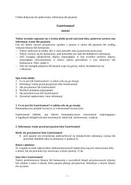 Gastricumeel - Wyszukiwarka produktów leczniczych