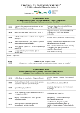 Forum Recyklingu 2016 - program 13 09-ok