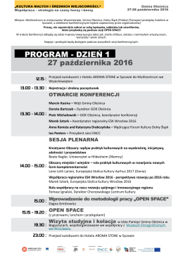 program - dzień 1 - Europejska Stolica Kultury 2016