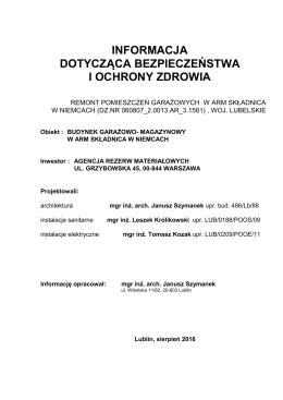 projekt wykonawczy - Agencja Rezerw Materiałowych