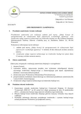 Załącznik nr 1 do Wniosku Załącznik nr 2 do Umowy 2016
